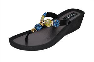 49f23dc2b3077 Image is loading Grandco-Womens-Sunstone-Wedge-Thong-Sandals