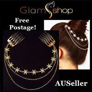 Fashion-women-039-s-gold-plated-hair-jewellery-hair-comb-flower-chain-headpiece