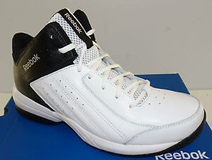 91b63a84dff59c REEBOK First Quarter Attack Men s Basketball Shoes White Black NEW ...