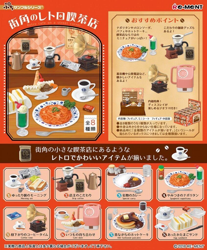 Re-Uomot Miniature Retro Cafe on a street corner Full set of 8 pcs