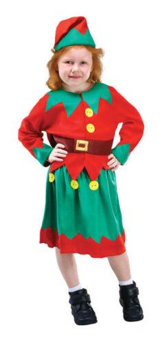 Girls kids Christmas Santas elf costume Pixie xmas kids dressing up santa helper