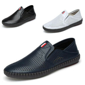 Mens-Slip-On-Breathable-Loafers-Hollow-out-Leather-Outdoor-Driving-Casual-Shoes