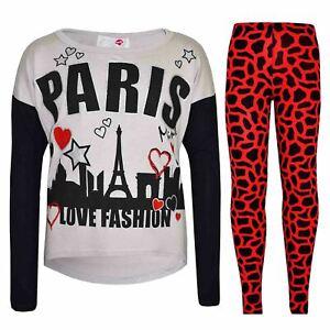 Kids Girls PARIS Printed Trendy Top /& Fashion Legging Set New Age 7-13 Years