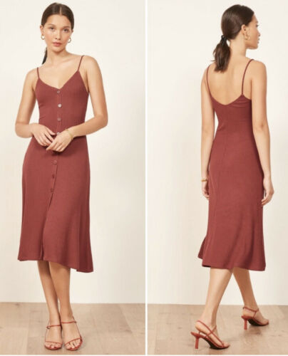 Reformation Ribbed Casey Dress Large Brick Red But