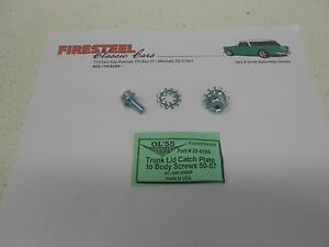 1955-1956-1957-Chevy-20-010S-TRUNK-LID-LATCH-PLATE-SCREWS-034-Lower-034-Set-New
