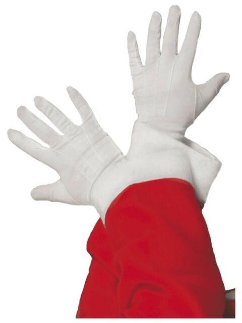 White Gloves Adults Min=me Act Father Christmas Fancy Dress Accessory