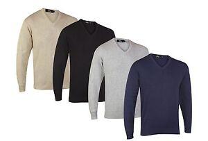 Mens-Plain-V-Neck-Cotton-Blend-Sweater-Top-Size-S-M-L-XL-2XL-3XL-4XL-5XL