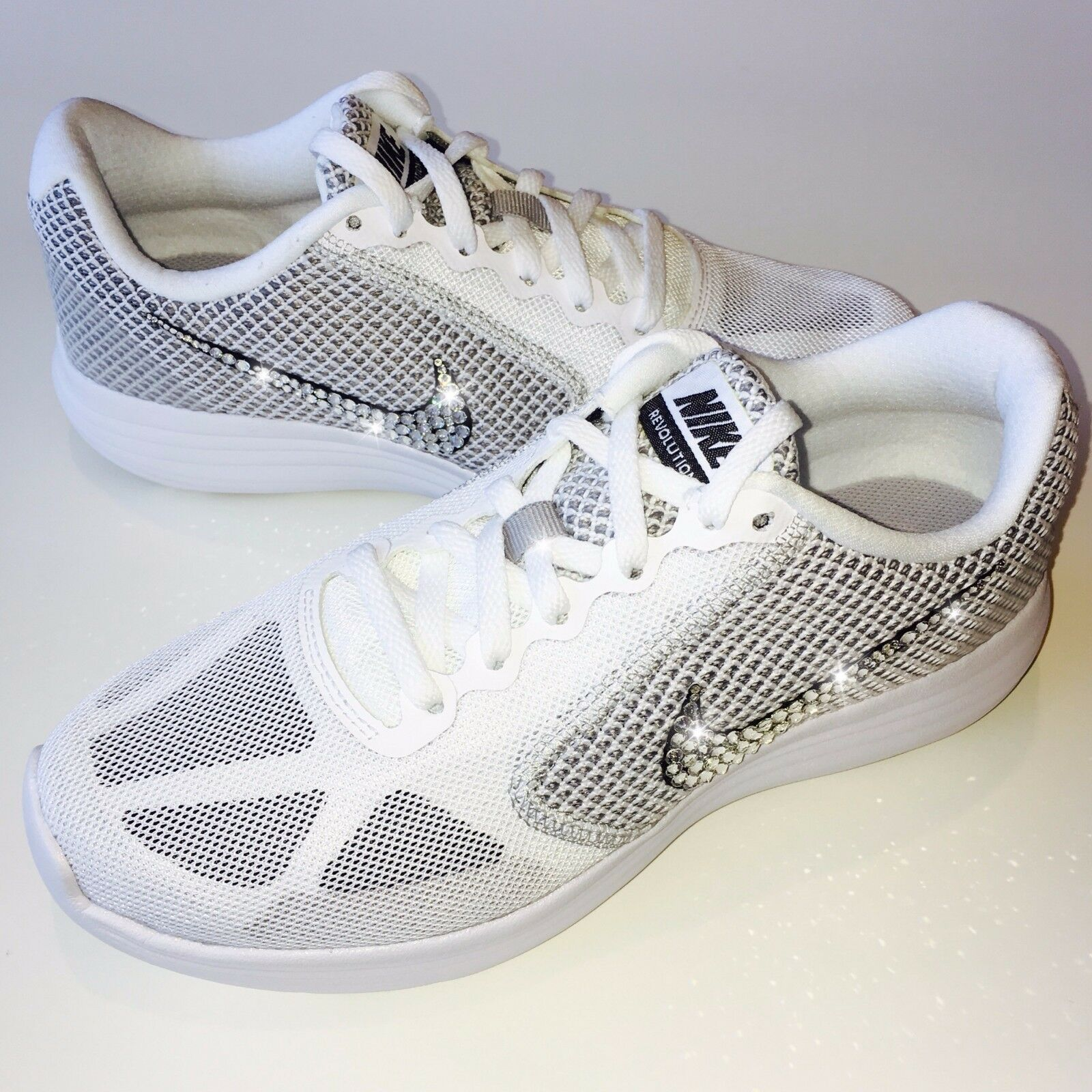6f4b9e3f9842 NWT Women s Nike Revolution 3 3 3 Shoes w  Swarovski Crystal Bling Bedazzled  Swoosh fd8100