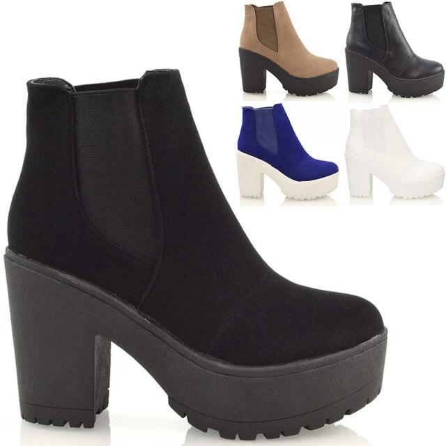 Ladies Chunky Cleated Sole Platform Womens Block Heel Biker Chelsea Ankle Boots