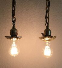 Vintage Pendant Light Pair Antique Brass Pendant Lights