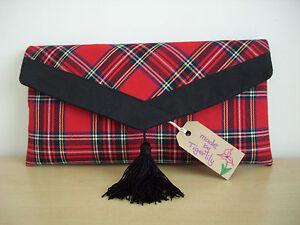 rifiniture in notte in rosso Stewart Royal Pochette scamosciata nappa pelle scozzese tartan con qxtT0xAw