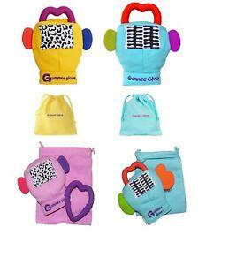 Gummee Glove   PLUS Baby Teething Mitten Ring BLUE YELLOW PINK 3-6 ... e776602ca68