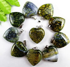10Pcs Natural Yellow And Black Dragon Veins Agate Heart Pendant Bead AA148