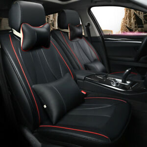 Universal-Auto-5-Sitzer-Sitzbezug-PU-Leder-Vorne-Hinten-Kissen-Kissen-Set