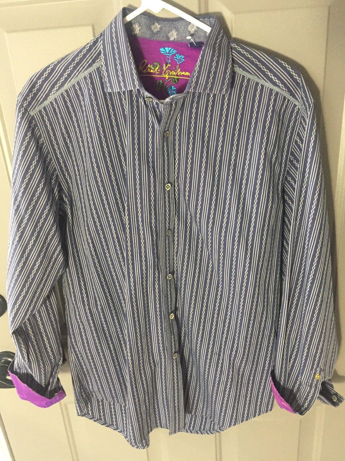ROBERT GRAHAM Button Up Shirt- bluee-Large