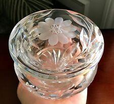 LARGE ABC CRYSTAL FLORAL DRESSER VANITY POWDER JAR~ANTIQUE NOUVEAU VICTORIAN