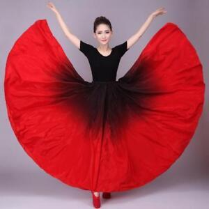 Womens-Latin-Practice-Dance-Skirt-Cha-Cha-Spanish-Frill-Modern-Ballroom-Dress-sz