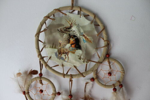 CR25 DREAMCATCHER WITH A PICTURE OF INDIAN WOLF HEADDRESS DEER 4 RINGS SMALL