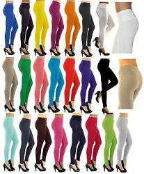 Damen Leggings lang hoher Bund verstärkt Hose blickdicht Baumwolle Leggins