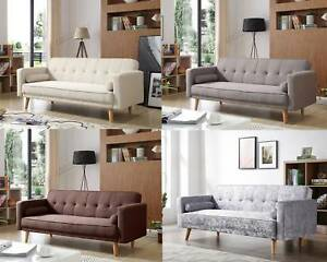 WestWood Fabric Sofa Bed 3 Seater Couch Luxury Modern Home Furniture ...