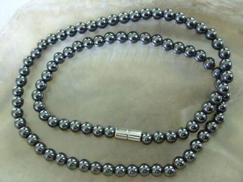 6 mm unisex hematites cadena collar Necklaces con cierre magnético 48 cm