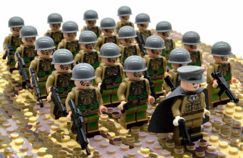 21pcs WWII Army Military Soldiers British Germany US Mini Figures Fit Lego Toy