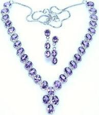 Sterling Silver Necklace Earrings SET Amethyst Genuine Gemstones 925 Jewellery