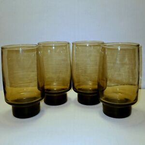 Vintage Libbey Drinking Glasses Tawny Smoke Brown Solid Raised Bottom Set of 4