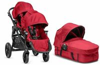 Baby Jogger City Select Twin Double Stroller Red With Second Seat And Bassinet