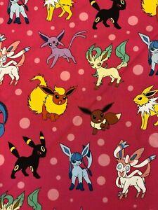 Pokemon-Fabric-Robert-Kaufman-16210-Poke-039-mon-Eevee-on-Pink