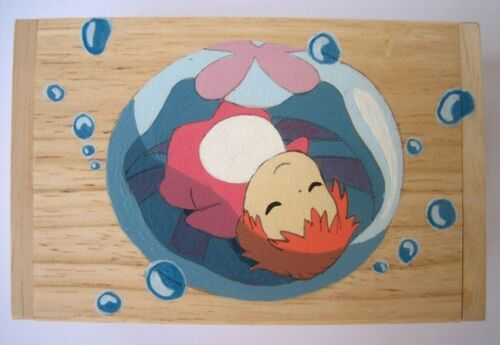 PONYO on the Cliff by the Sea Hand made Painted wooden Box 5 name card 崖の上のポニョ