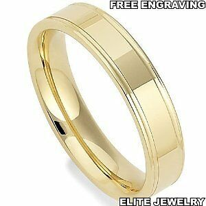 Image Is Loading 4mm Wide Mens 14k Yellow Gold Wedding Bands
