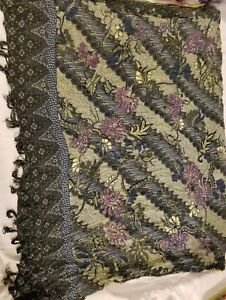 Shawl-Wrap-Lightweight-Scarf-Multi-Color-Blue-Black-Green-Purple-Flowers-Pretty