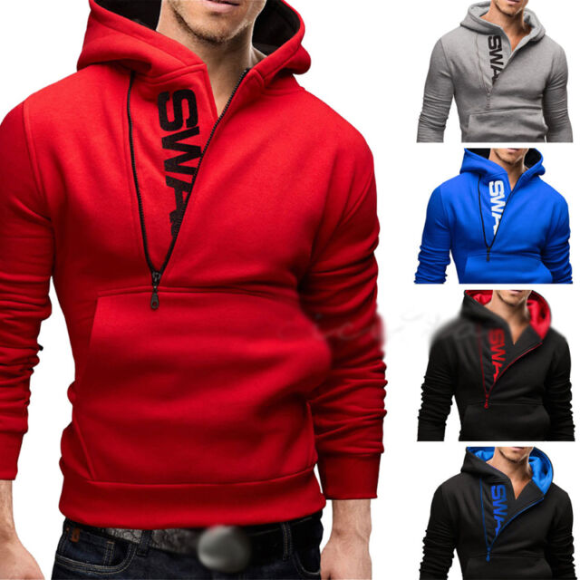 Fashion Men's Slim Warm Hooded Sweatshirt Zipper Coat Jacket Outwear Sweater