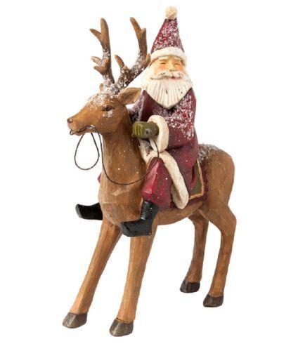 Clayre /& Eef Weihnachtsmann mit Hirsch Santa Rudi Weihnchtsfigur Tischdeko 53648