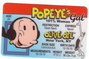 Olive-OYL-of-Popeye-the-SAILOR-MAN-plastic-collectors-card-Drivers-License