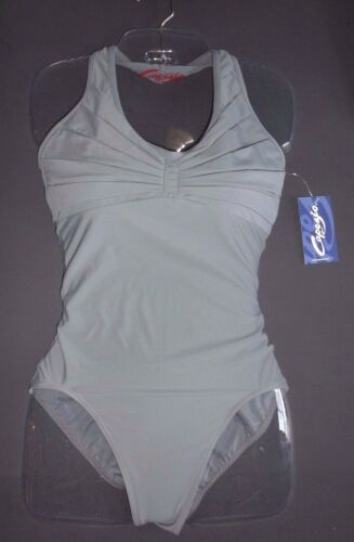 NWT CAPEZIO 10190 Pleated SYNERGY Halter Leotard Ladies Smoke Gray