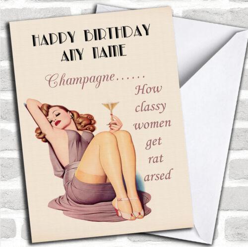 Funny Joke Retro Classy Wine Birthday Customised Card