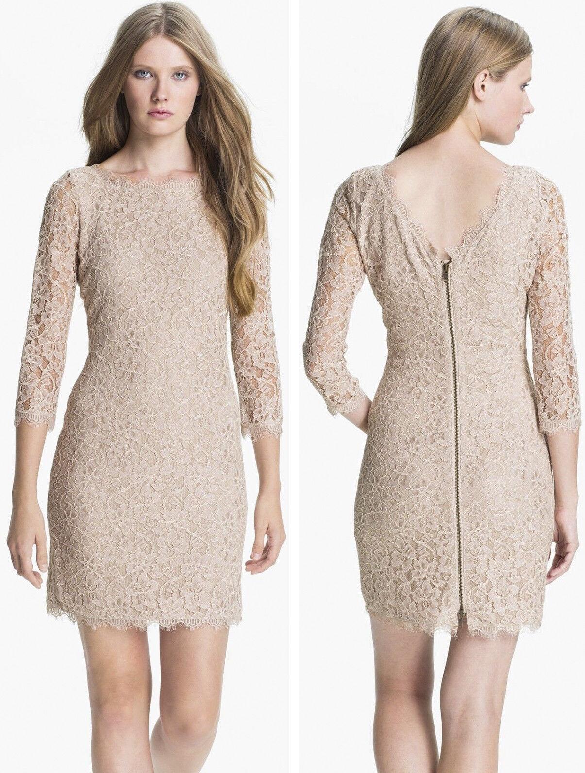 325 Diane Von Furstenberg DVF Zarita Nude Beige Stretch Lace Shift Dress 14
