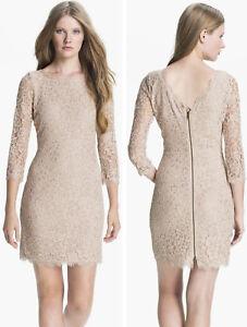 03685c6f75  325 Diane Von Furstenberg DVF Zarita Nude Beige Stretch Lace Shift ...
