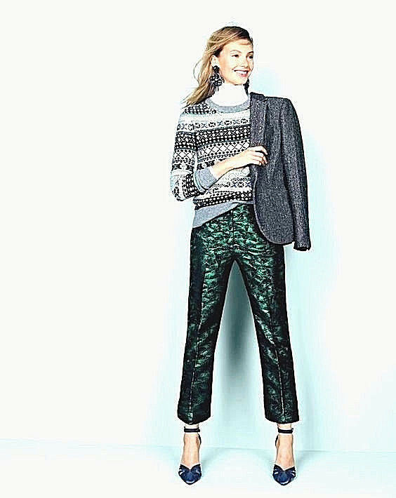 NWT  Designer J.CREW Italian Baroque Jacquard Pants -Fully Lined  UK 6 -16
