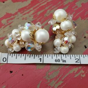 1803 Pair of oval pearl bead covered bee hive shape vintage clip on earrings with  FREE WORLDWIDE SHIPPING