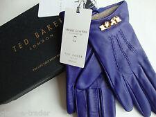 TED BAKER Women's Blue Leather Bowra Gloves Medium/Large BNWT £85 BNIB