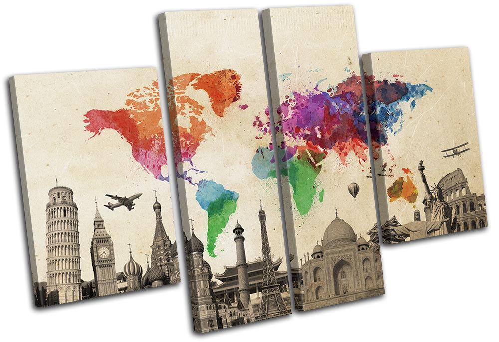 World Landmarks Atlas Maps Flags MULTI Leinwand Wand Kunst Bild drucken