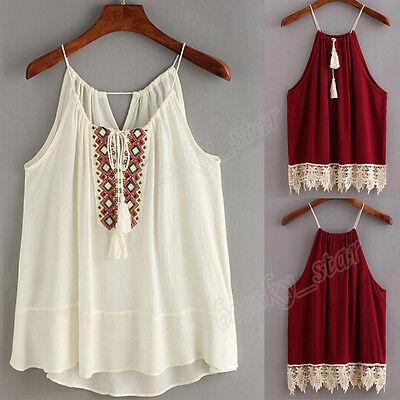 Women Embroidered Cami Tassel Drawstring Blouse Tank Tops shirt Halter Vest