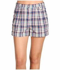 Fred Perry Check Womens Short Kit Blue size 6 US / 10 UK NWT