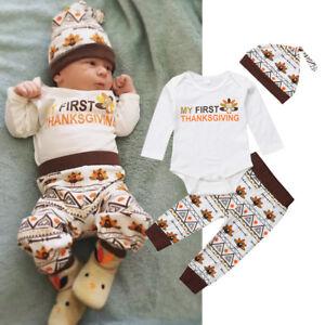 09c84ea72 Image is loading USA-Turkey-Thanksgiving-Infant-Baby-Boy-Girl-Romper-