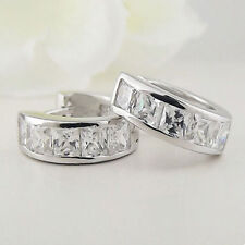 Item 1 Silver Surgical Stainless Steel Cuff Huggie Hoop Stud Earrings Crystal Uk Er