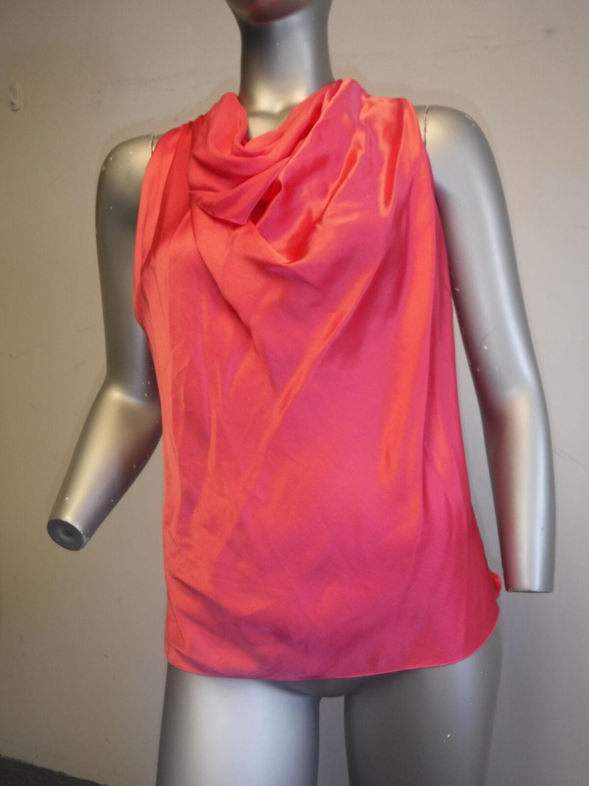 LANVIN Hot Rosa silky Halter drape neck S M