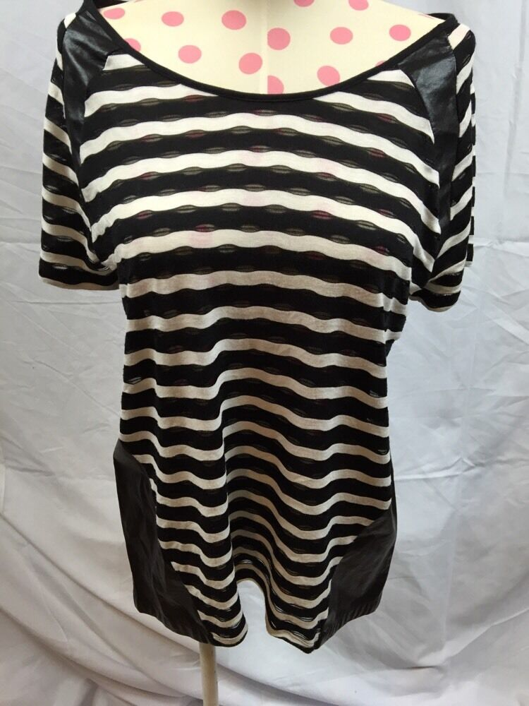 95f8596b543e Blessed Are The Meek cotton striped top with leather sides Sz 1 schwarz  Weiß